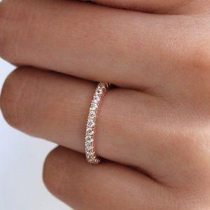 Jewelry - ❤️Rose Gold Wedding Half Eternity Band Pave Ring